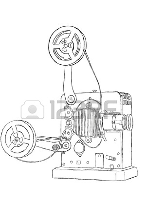 300x450 Sketch Of Vintage Projector With Film Tape Stock Photo, Picture