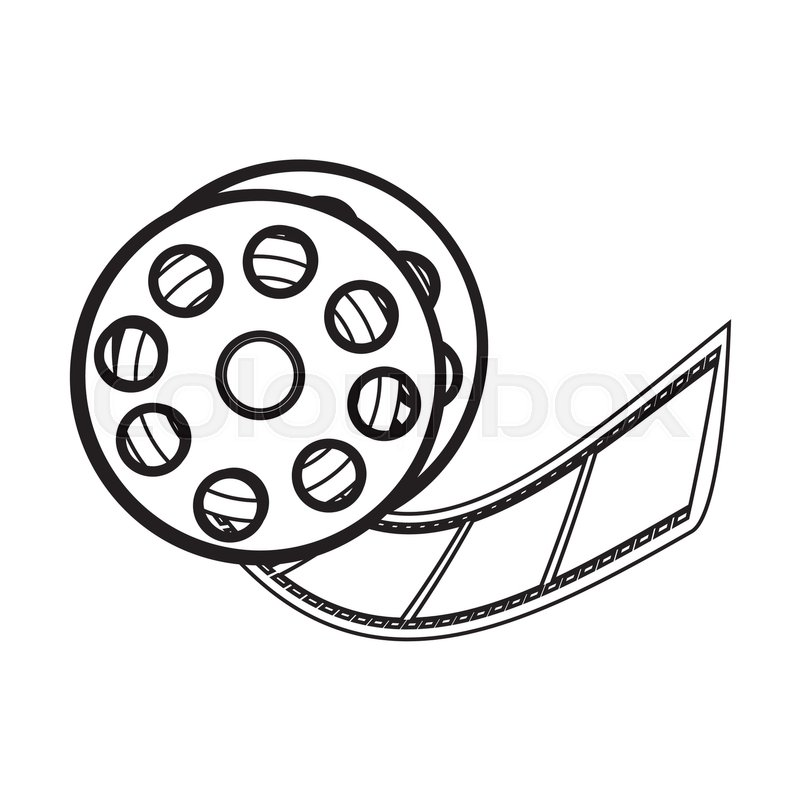 800x800 Illustration Of Vector Film Reel On White Background Stock