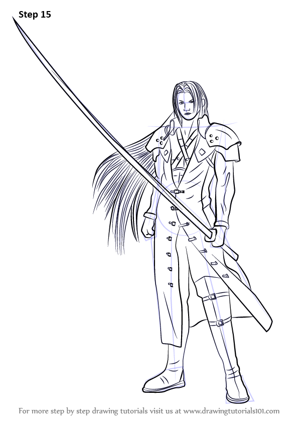 596x842 Learn How To Draw Sephiroth From Final Fantasy (Final Fantasy