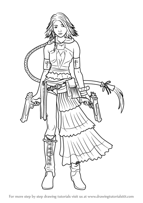 566x800 Learn How To Draw Yuna From Final Fantasy X (Final Fantasy X) Step