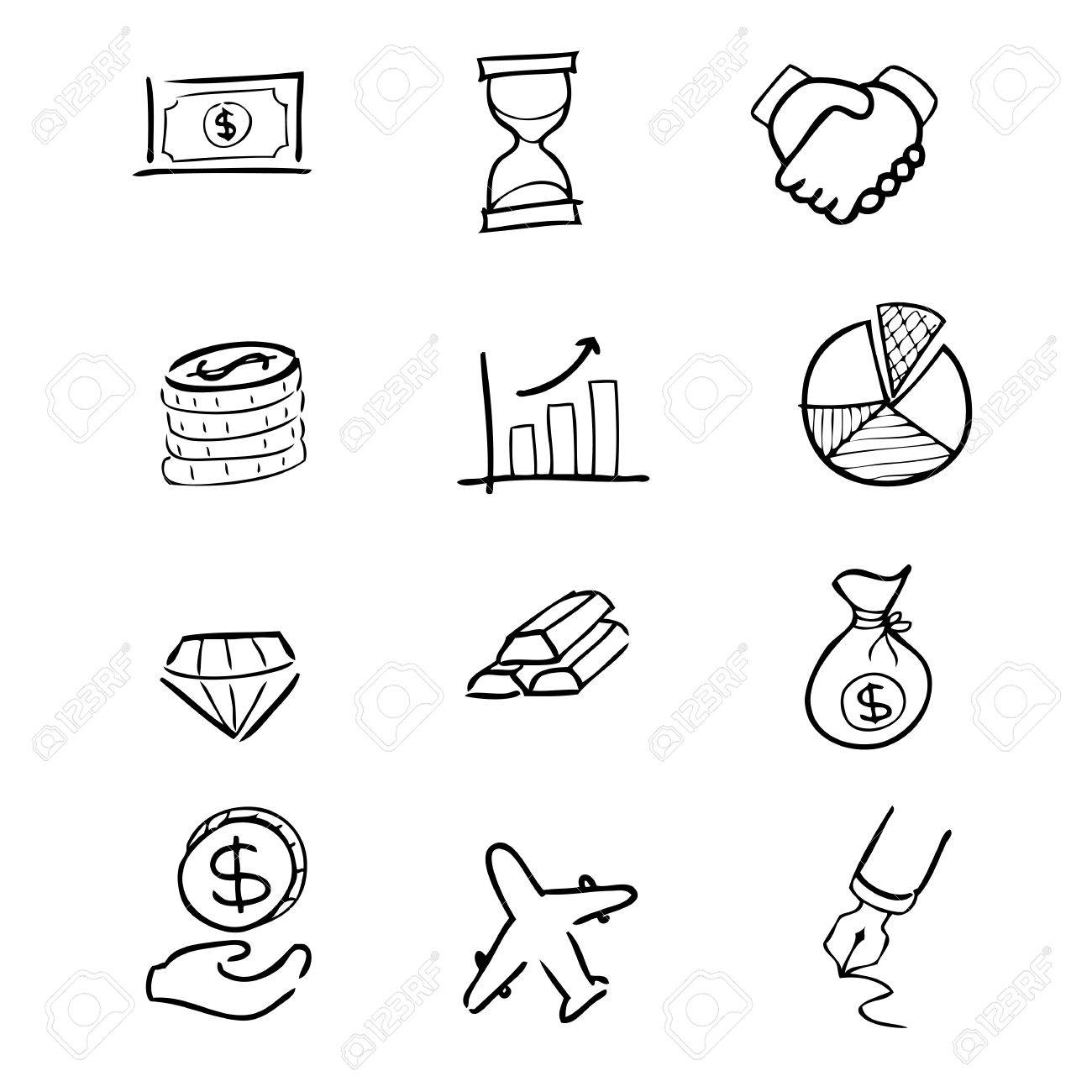 1300x1300 Business Finance Drawing Icons Set Royalty Free Cliparts, Vectors