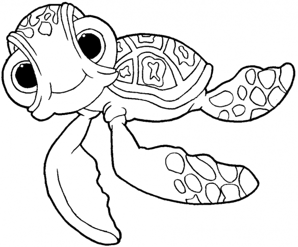 584x485 How To Draw Squirt The Turtle From Finding Nemo With Easy Step By