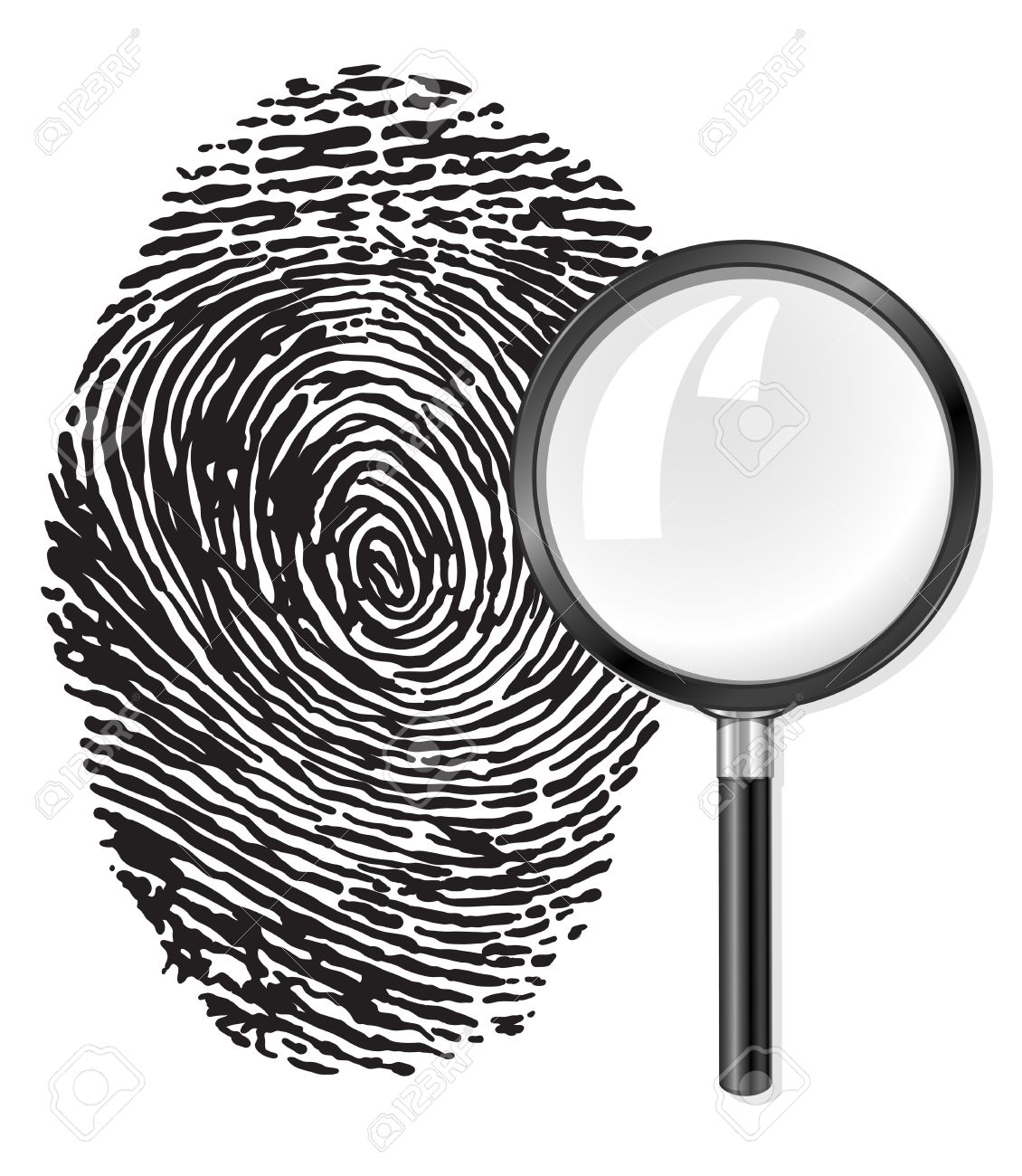 1130x1300 Black Fingerprint And Magnifying Glass Loupe Vector Illustration