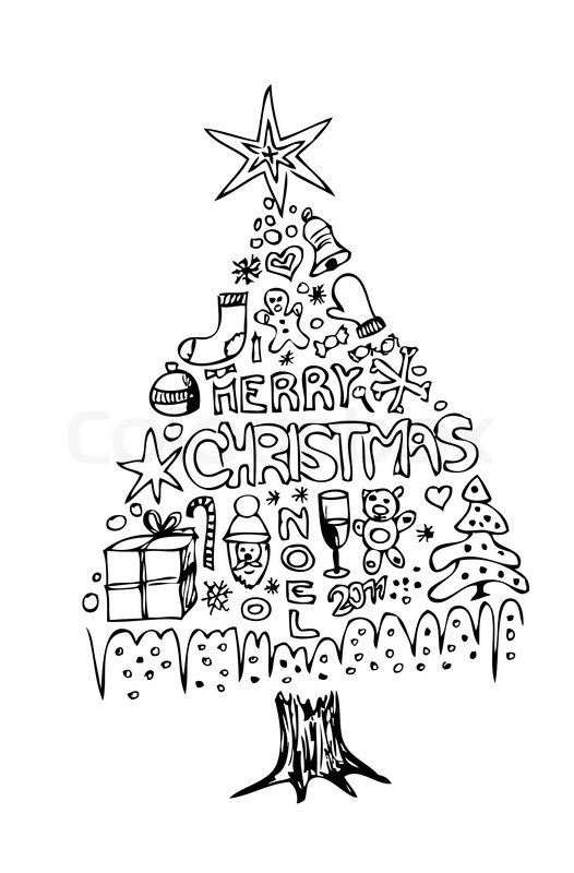 526x800 Hand Drawn Christmas Tree Isolated On The White Background Stock