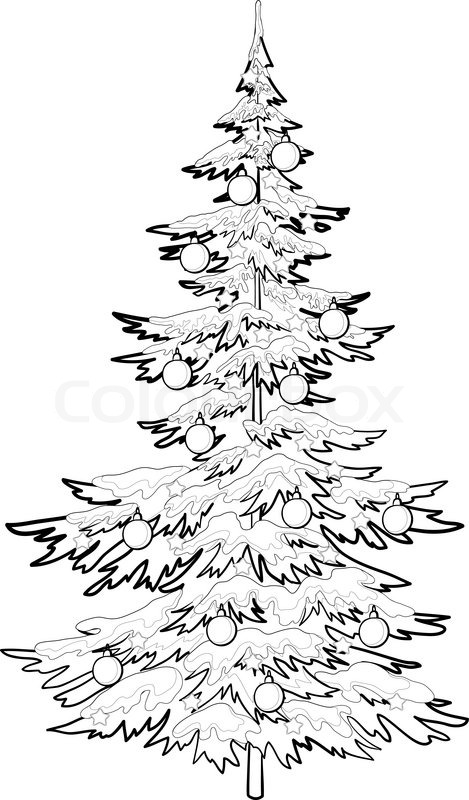 469x800 Christmas Holiday Tree With Ornaments Balls And Stars, Contours