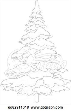 238x370 Christmas Tree Silhouette Snow Drawing