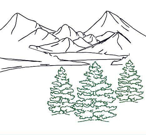 467x431 Embroidery Design Fir Tree Trio Outline Mountain Landscape