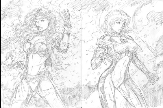 564x376 Tg Kinobi Sangalang Fire Amp Ice Sketch Comic Art Dc Superheros