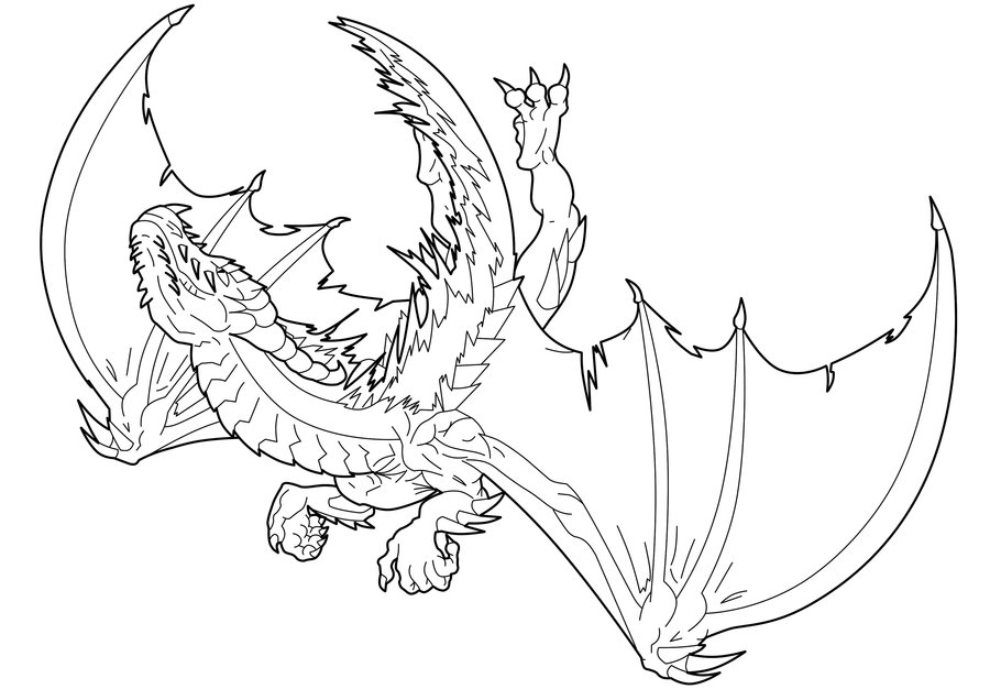900x636 Fire Dragon Line Art By Ludifer