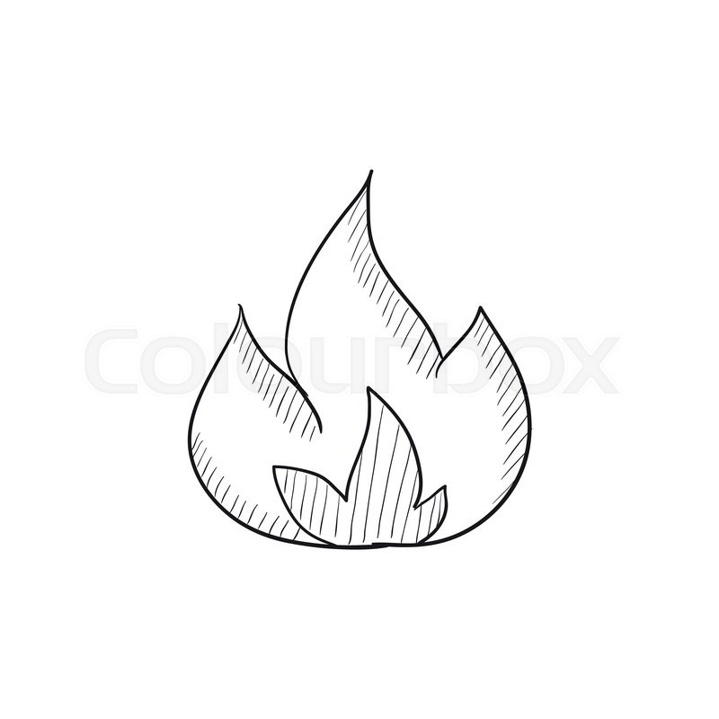 800x800 Fire Vector Sketch Icon Isolated On Background. Hand Drawn Fire
