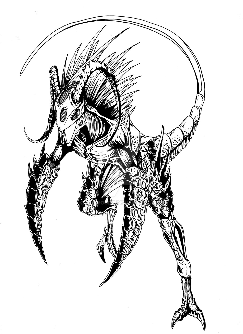 1024x1406 Fire Creature Ink By Schwoodz