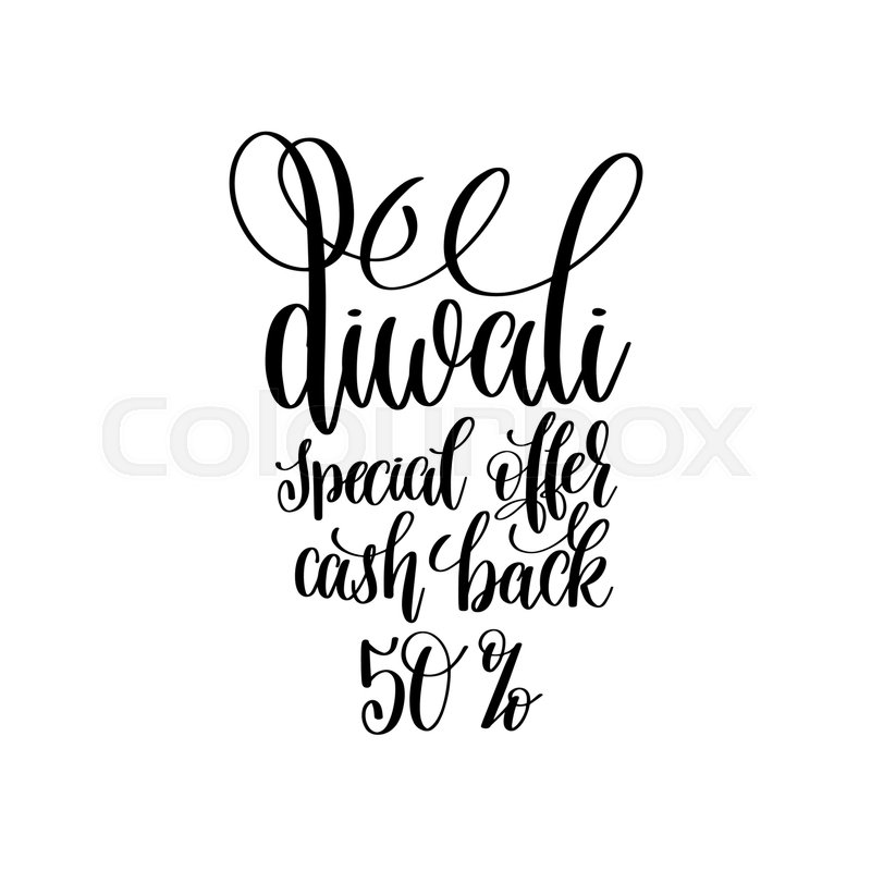 800x800 Diwali Spesial Offer Cash Back 50% Black Calligraphy Hand