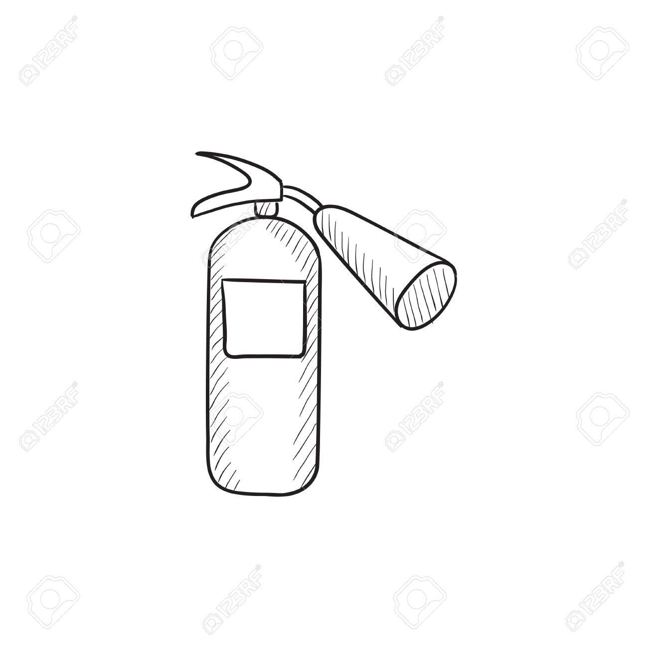 1300x1300 Fire Extinguisher Vector Sketch Icon Isolated On Background