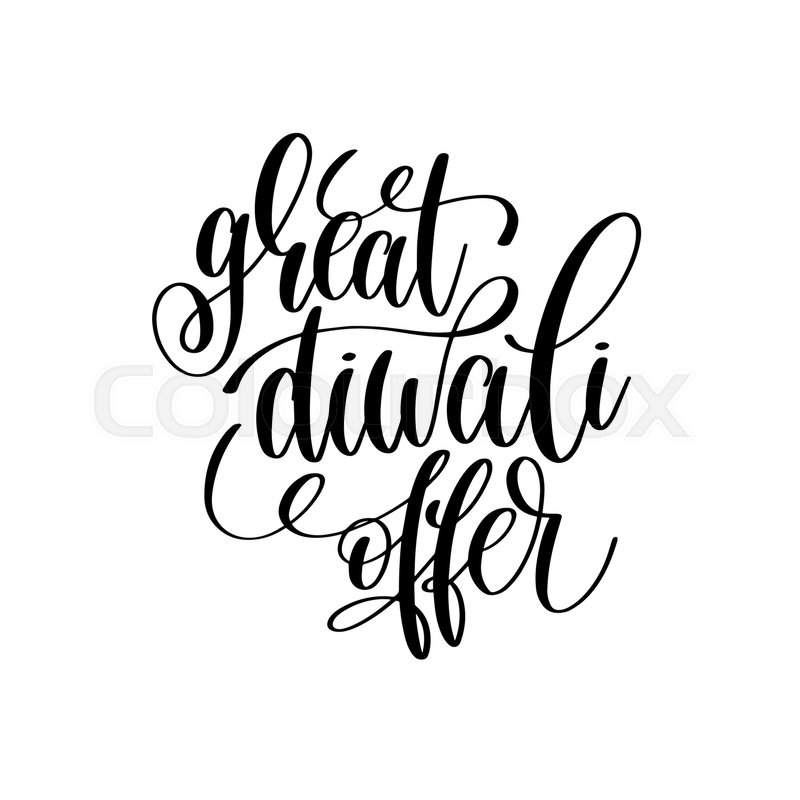 800x800 Great Diwali Offer Black Calligraphy Hand Lettering Text Isolated