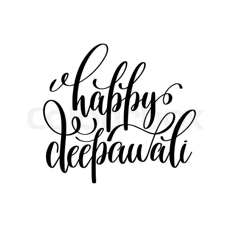 800x800 Happy Deepawali Black Calligraphy Hand Lettering Text Isolated