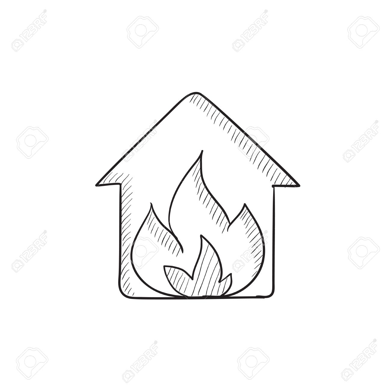 1300x1300 House On Fire Vector Sketch Icon Isolated On Background. Hand