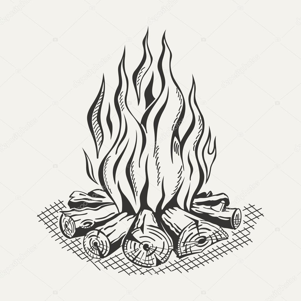 1024x1024 Illustration Of Isolated Camp Fire On White Background. Stock