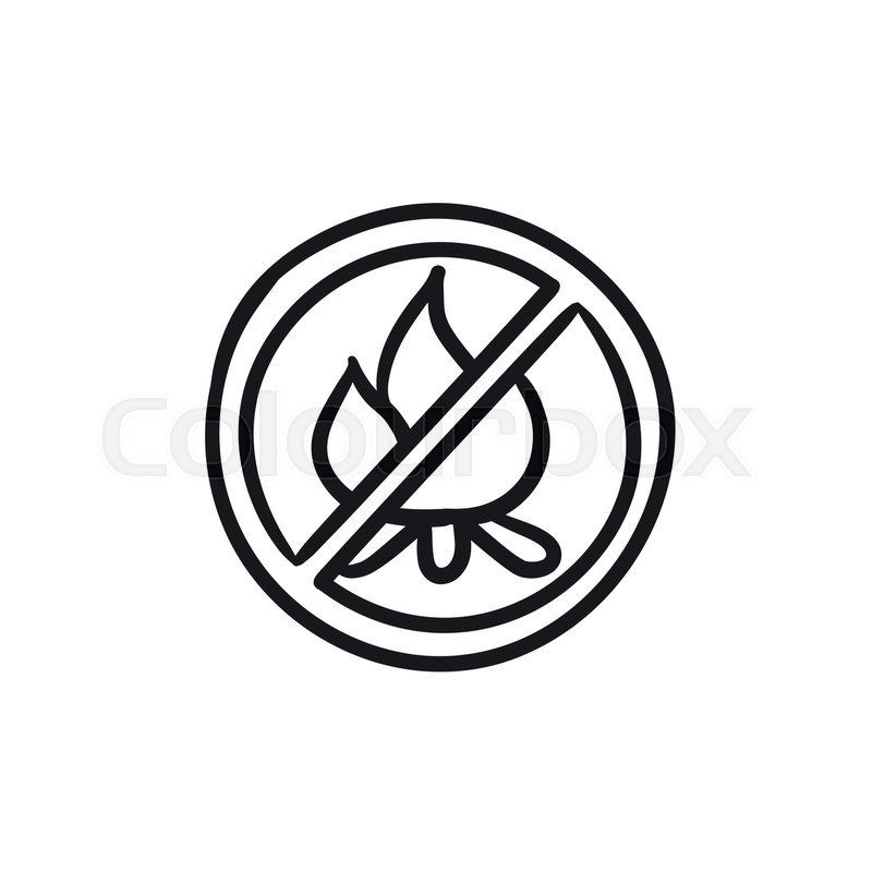 800x800 No Fire Sign Vector Sketch Icon Isolated On Background. Hand Drawn
