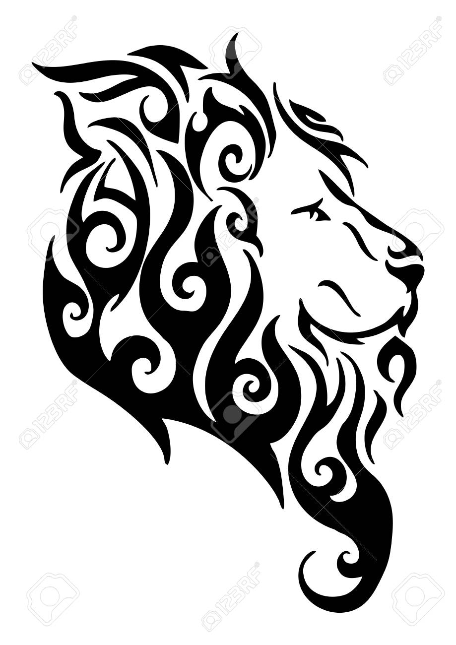 919x1300 Silhouette Lion Side Head Tribal Tattoo Vector Design From Flame