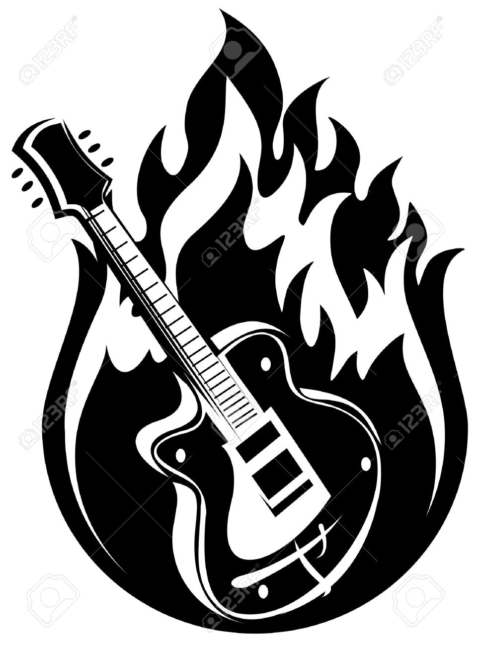 964x1300 Stylized Electric Guitar And Fire On A White Background. Royalty