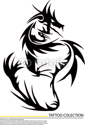 272x400 Vector Black Dragon Fire On White Background,tattoo Killer