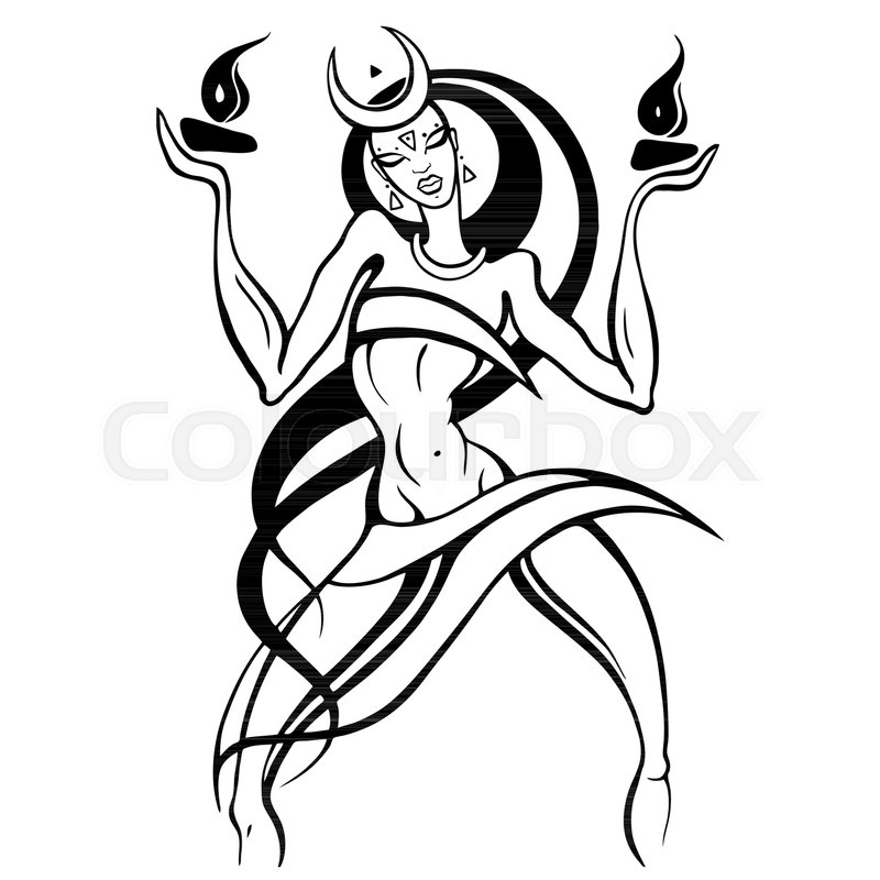 800x800 Beautiful Young Woman Dancing With Fire. Hand Drawn Vector