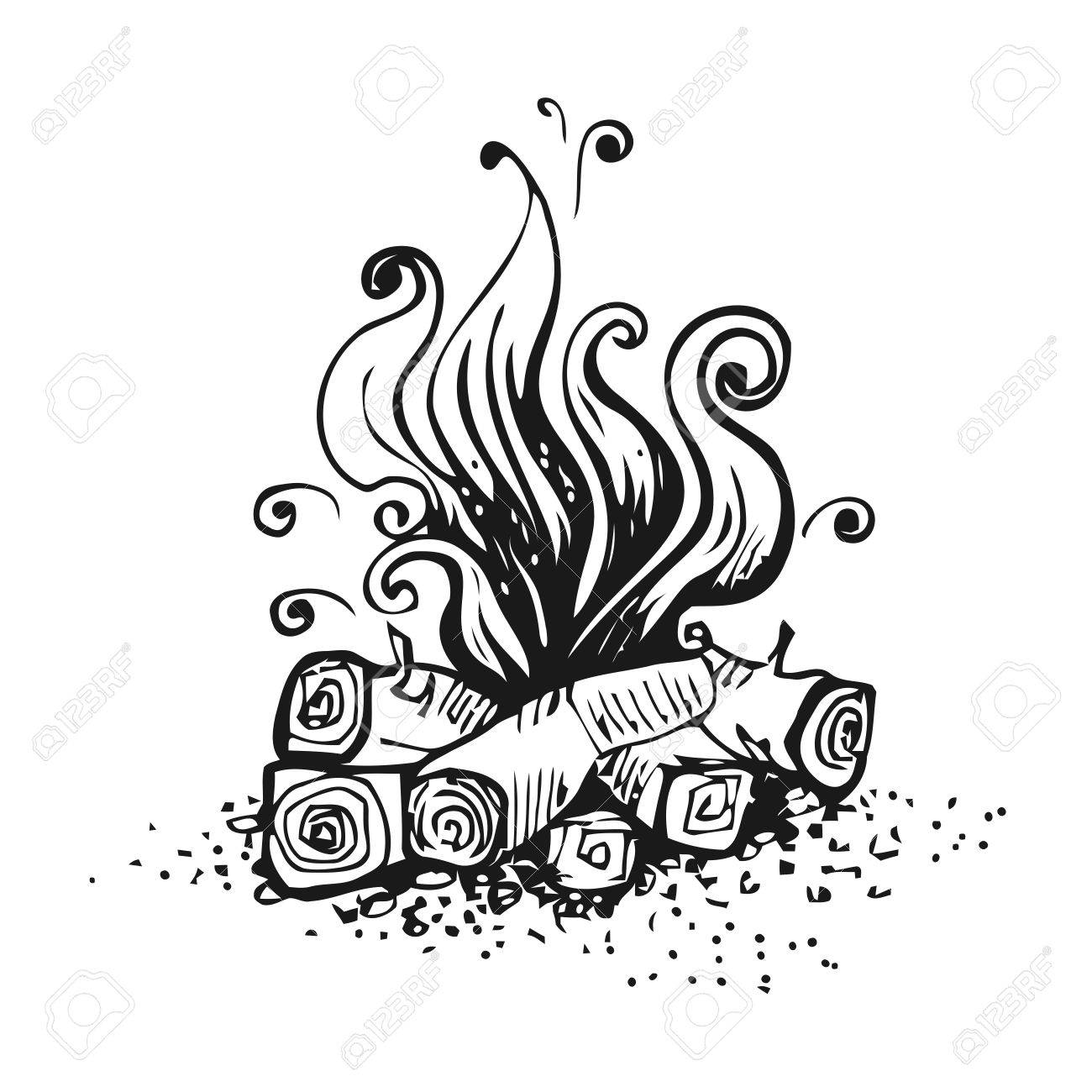 1300x1300 Campfire, Fire Over Wood Logs. Black And White Graphic Vector