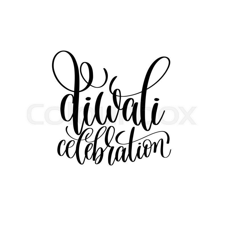 800x800 Diwali Celebration Black Calligraphy Hand Lettering Text Isolated