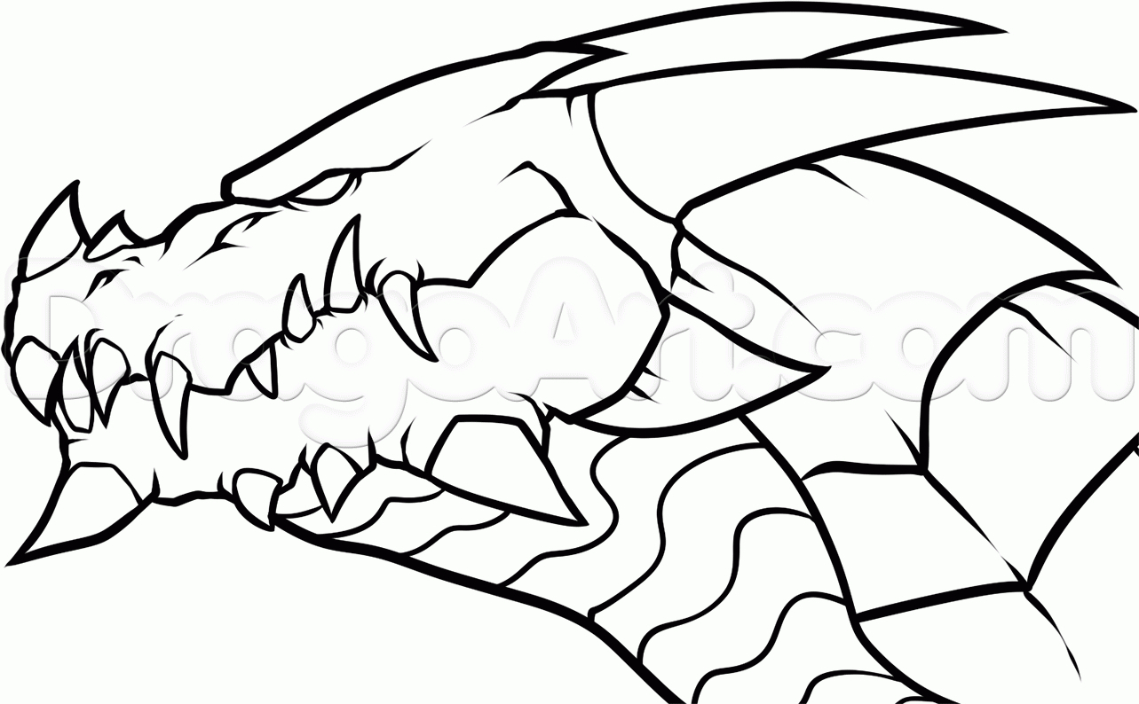 1283x794 Easy To Draw Dragon Heads Easy Fire Breathing Dragon Head Drawings