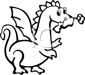 350x310 Fire Breathing Dragon Drawn In A Cartoon, Coloring Page Style