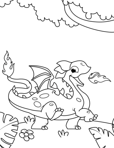 371x480 Cute Fire Breathing Dragon Coloring Page Free Printable Coloring
