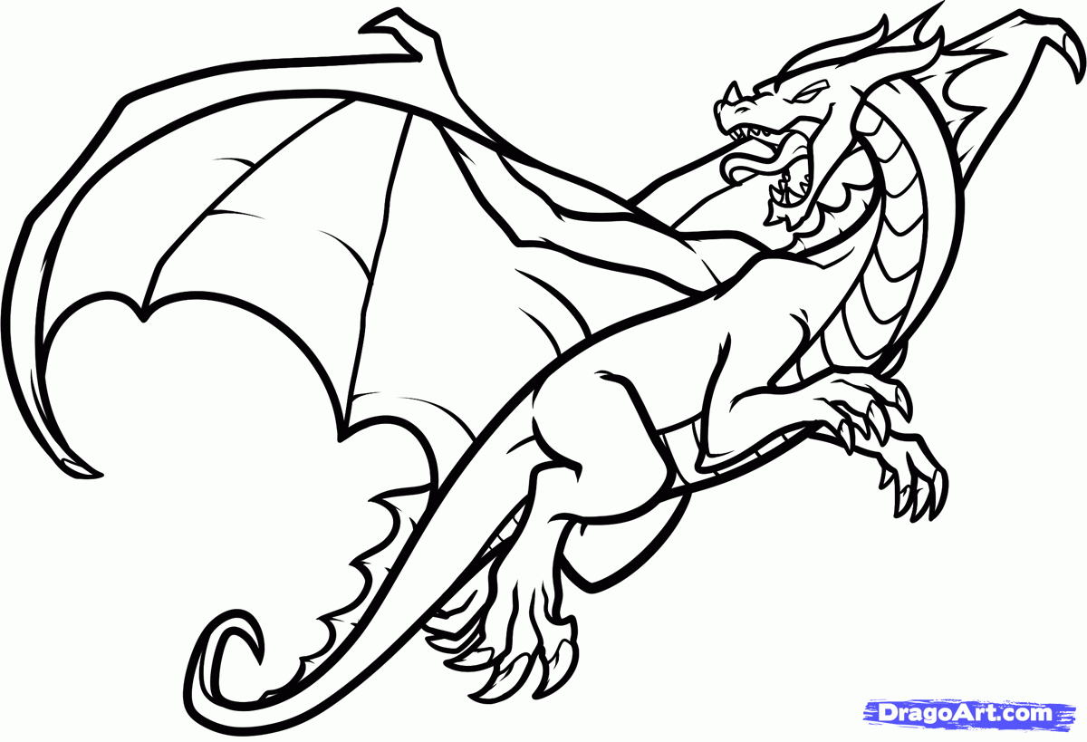 1200x819 How To Draw A Dragon Flying And Breathing Fire Step By Step