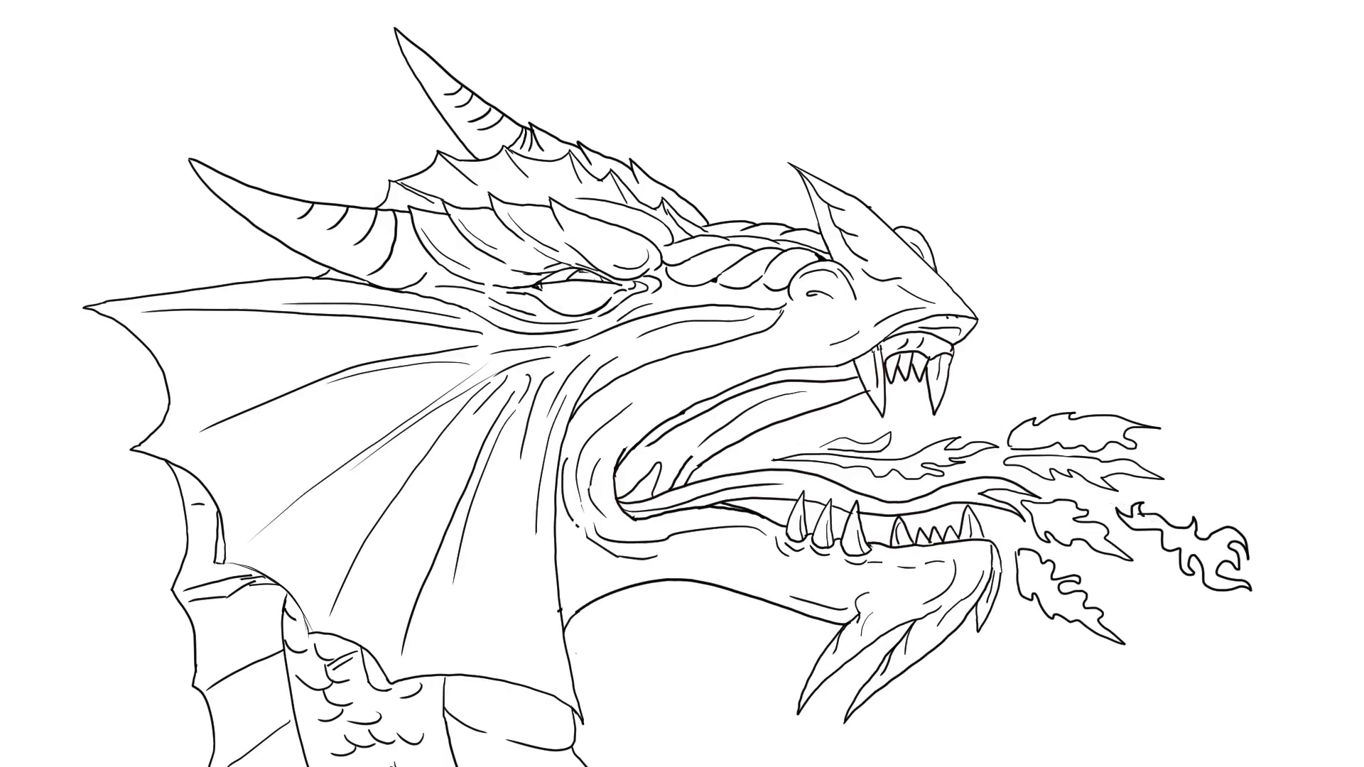 1920x1080 Dragon Breathing Fire Drawing Dragon Breathing Fire 2d Animation