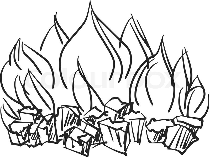 800x601 Hand Drawn, Cartoon, Sketch Illustration Of Fire Stock Vector