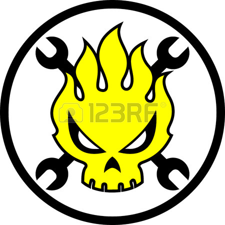 450x450 Skull Cartoon Fire Vector. Mechanic Icon. Sticker Design Stock