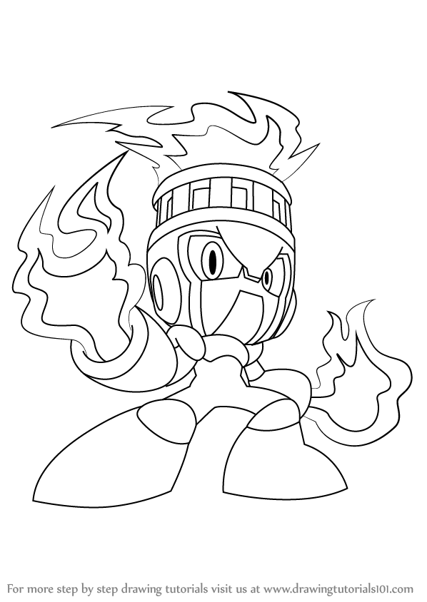 598x844 Step By Step How To Draw Fire Man From Mega Man