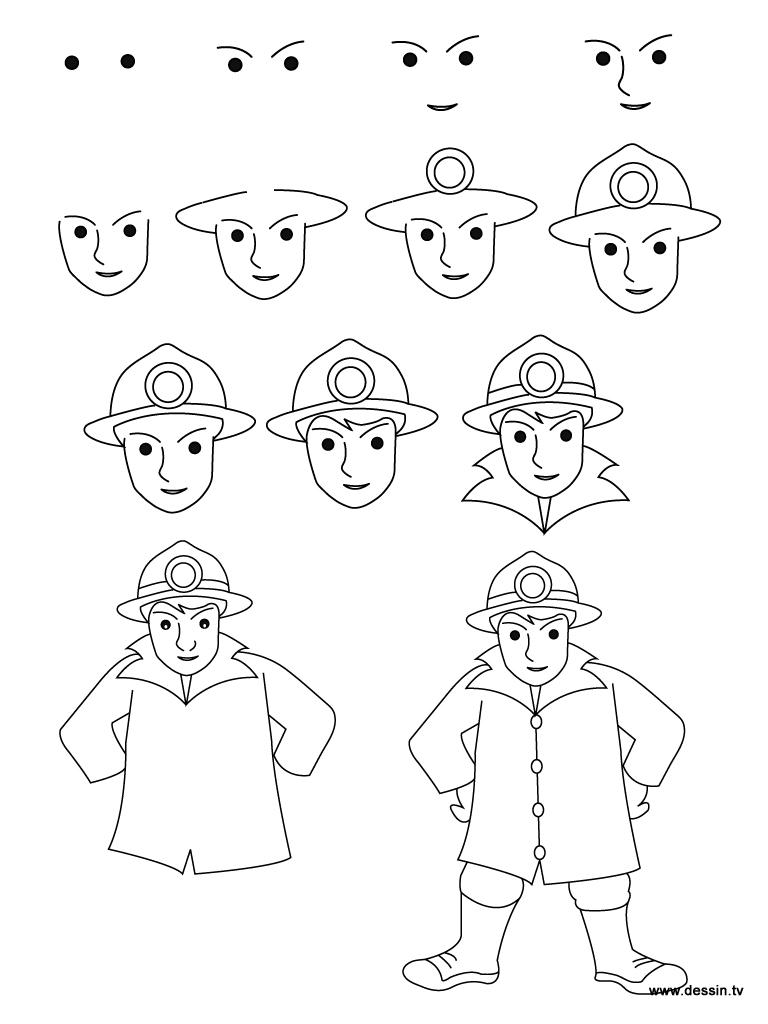 768x1024 Drawing Fireman