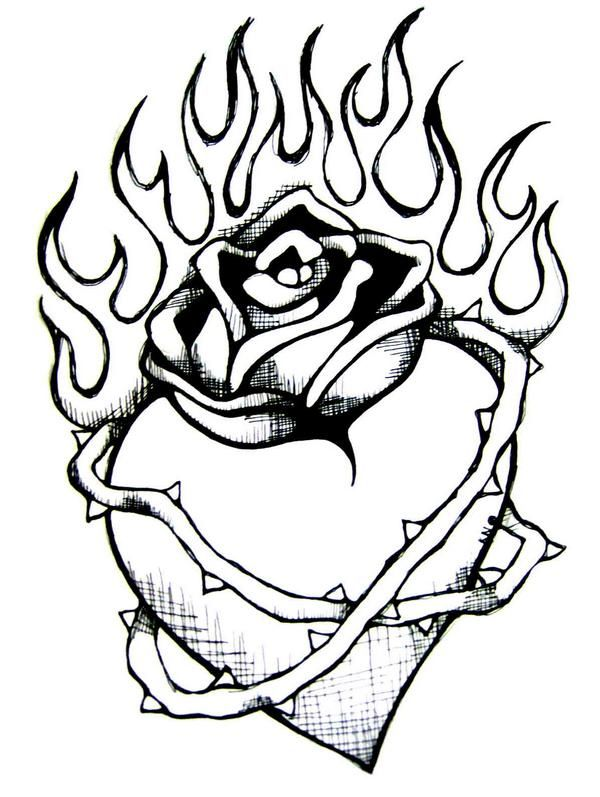 600x797 Drawn Rose Heart On Fire