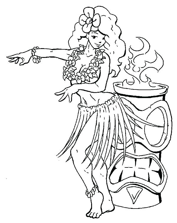 600x755 Hula Girl Coloring Page Hula Girl Perform Beside Fire Coloring