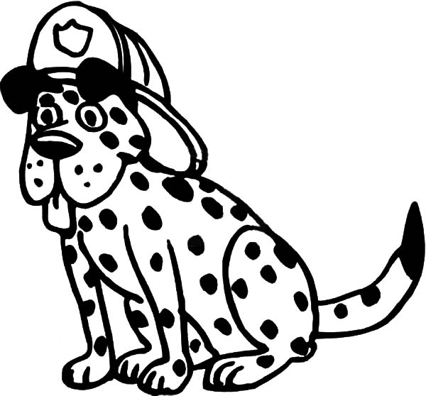 600x558 Fire Dog Wearing Firefighter Helmet Coloring Pages Fire Dog Fire