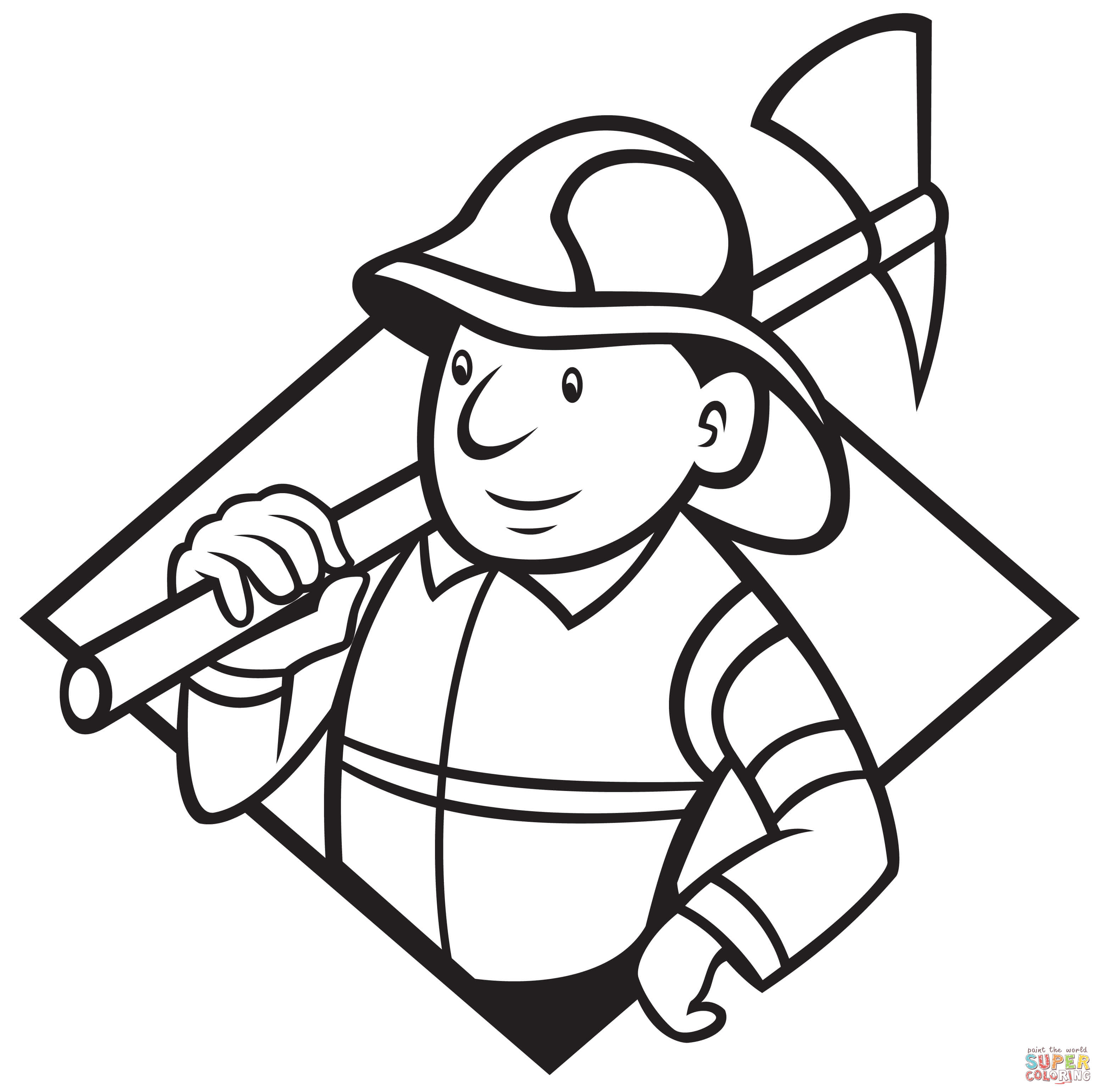 3100x3080 Fireman Helmet And Axes Coloring Page Free Printable Pages