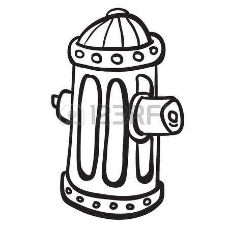 450x450 Simple Black And White Fire Hydrant Cartoon Royalty Free Cliparts