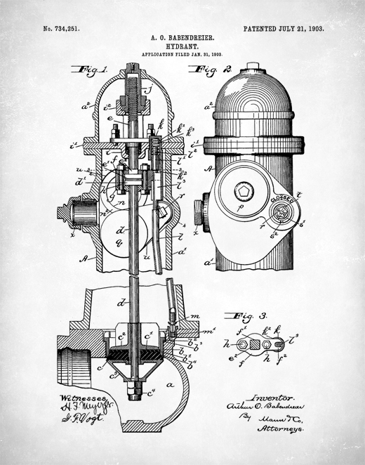 520x662 Fire Hydrant Patent Print, Fire Hydrant Poster, Fire Hydrant Art