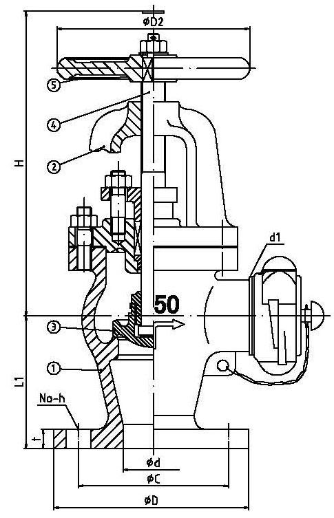 485x753 Bronze Angle Hose Valve (Fire Hydrant) Jis F7334b Dn50 65 5k