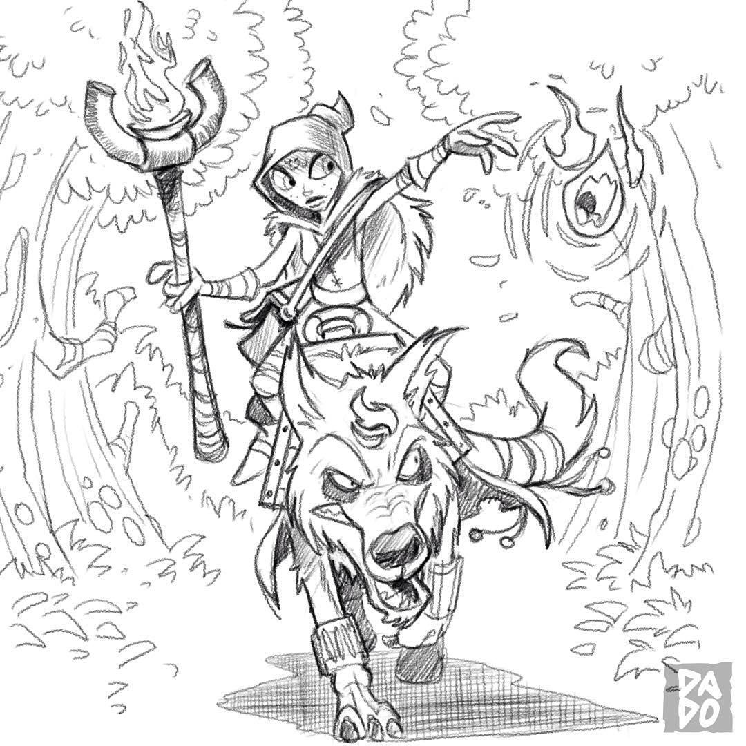 1080x1080 Sorceress Red Riding Hood Riding A Fire Wolf'