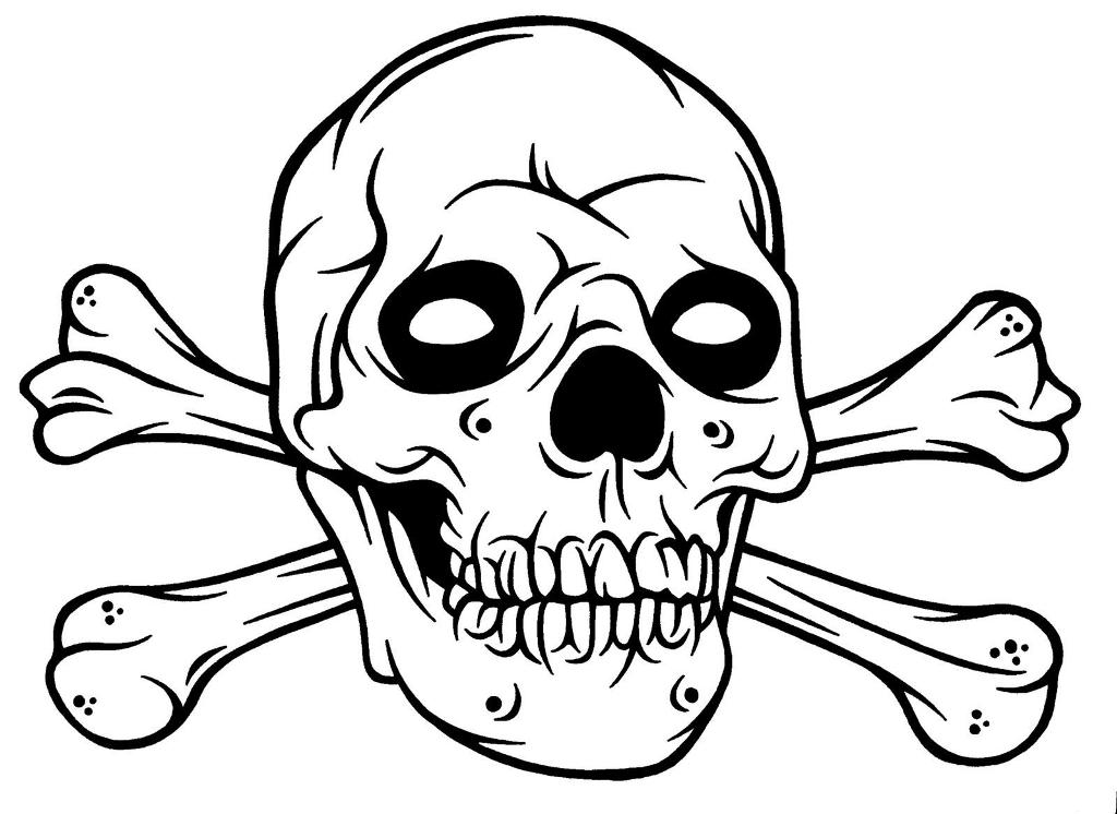 1024x746 Easy Drawing Of Skulls Coloring How To Draw A Skull On Fire Step