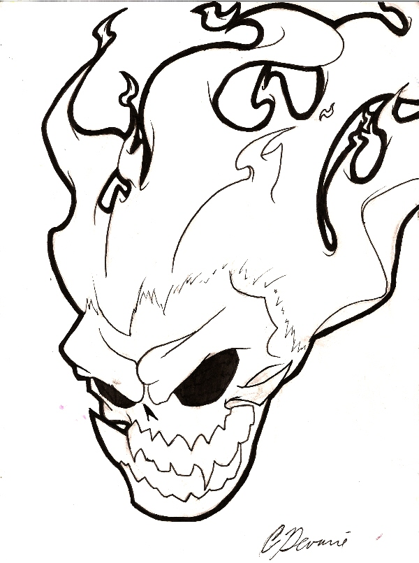 600x806 Flaming Skull By Megageekserious