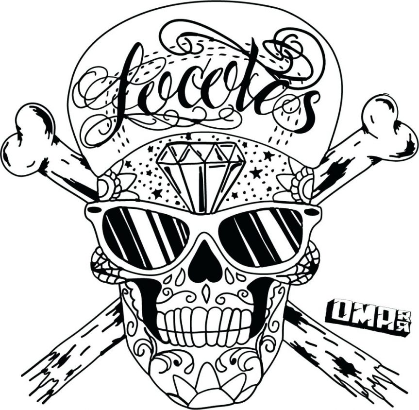 863x844 Skull Coloring Pages On Fire Free Printable Picture