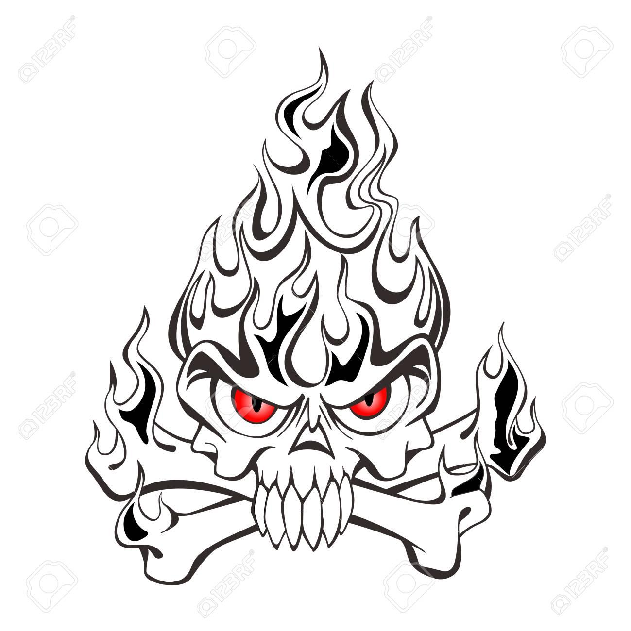 1299x1300 Vector Black And White Tribal Skull On Fire Tattoo Illustration