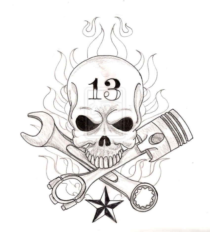 850x940 Skull With Crossed Wrench And Piston Tattoo By Metacharis D5tbitn